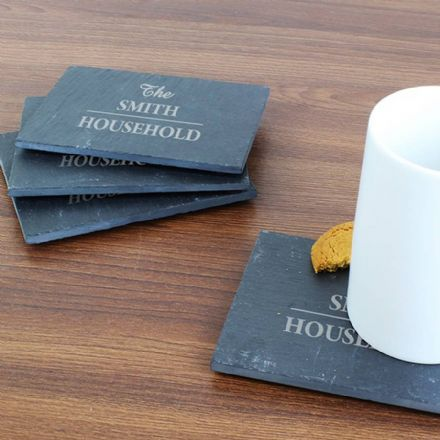 Personalised Family 4 Pack of Slate Coasters